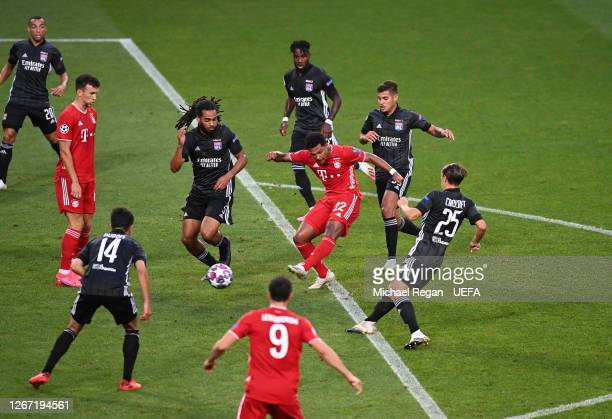 Serge Gnabry of Bayern Munich scores his team's first goal during the UEFA Champions League Semi Final match between Olympique Lyonnais and Bayern...