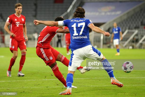 Serge Gnabry of Bayern Munich scores his teams first goal during the Bundesliga match between FC Bayern Muenchen and FC Schalke 04 at Allianz Arena...