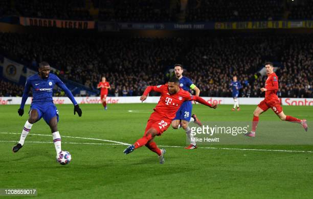 Serge Gnabry of Bayern Munich scores his team's second goal during the UEFA Champions League round of 16 first leg match between Chelsea FC and FC...