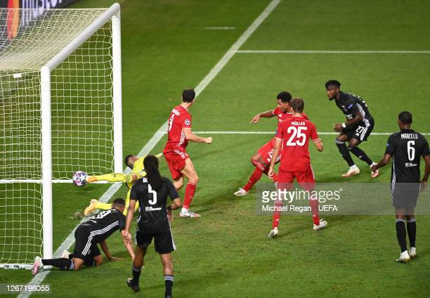 Serge Gnabry of Bayern Munich scores his team's second goal past Anthony Lopes of Olympique Lyonnais during the UEFA Champions League Semi Final...