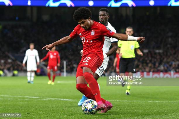 Serge Gnabry of Bayern scores their 4th goal during the UEFA Champions League group B match between Tottenham Hotspur and Bayern Muenchen at...