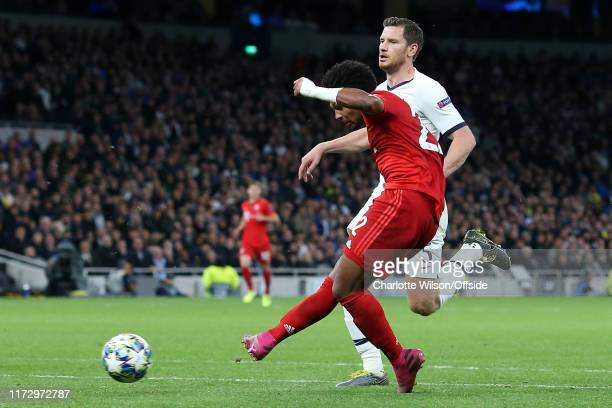 Serge Gnabry of Bayern scores their 5th goal during the UEFA Champions League group B match between Tottenham Hotspur and Bayern Muenchen at...
