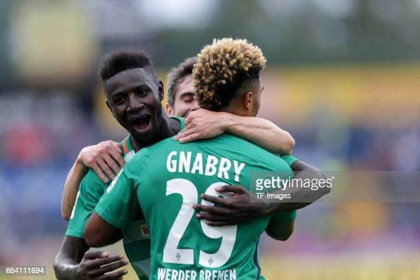 Serge Gnabry of Bremen celebrate a goal during the Bundesliga match between SV Darmstadt 98 and Werder Bremen at Stadion am Boellenfalltor on October...