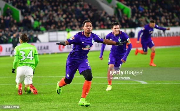 Serge Gnabry of Bremen celebrates scoring the first goalduring the Bundesliga match between VfL Wolfsburg and Werder Bremen at Volkswagen Arena on...