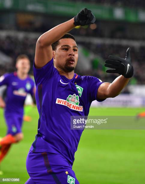 Serge Gnabry of Bremen celebrates scoring the second goal during the Bundesliga match between VfL Wolfsburg and Werder Bremen at Volkswagen Arena on...