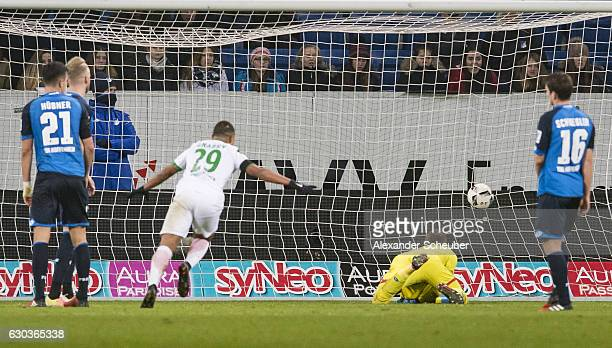 Serge Gnabry of Bremen scores the first goal for his team during the Bundesliga match between TSG 1899 Hoffenheim and Werder Bremen at Wirsol...