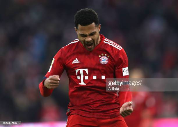 Serge Gnabry of FC Bayern Muenchen celebrates his first goal during the Bundesliga match between FC Bayern Muenchen and VfB Stuttgart at Allianz...