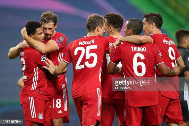 Serge Gnabry of FC Bayern Muenchen celebrates his second goal with teammate Leon Goretzka, Thomas Mueller, Ivan Perisic, Thiago and Robert...