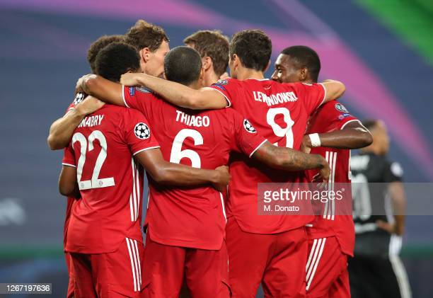 Serge Gnabry of FC Bayern Muenchen celebrates his second goal with teammates during the UEFA Champions League Semi Final match between Olympique...