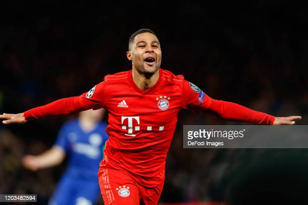 Serge Gnabry of FC Bayern Muenchen is celebrating his second goal during the UEFA Champions League round of 16 first leg match between Chelsea FC and...