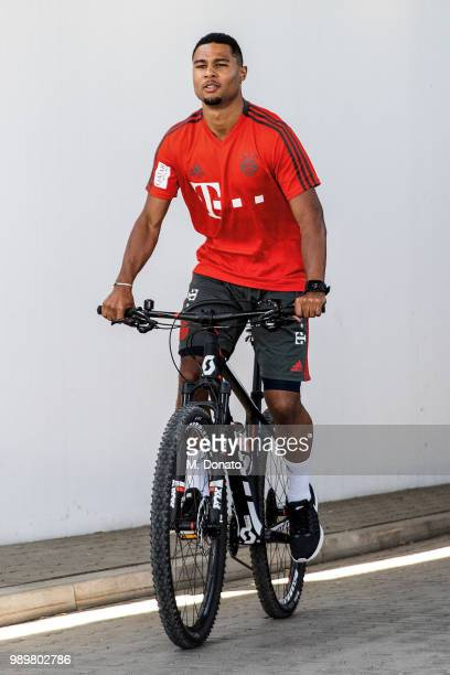 Serge Gnabry of FC Bayern Muenchen is seen on a bike ride at the FC Bayern training ground on July 2 2018 in Munich Germany
