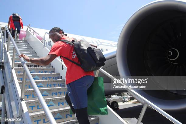 Serge Gnabry of FC Bayern Muenchen looks on at the Los Angeles International Airport to depart with the team flight to Houston City during the fifth...