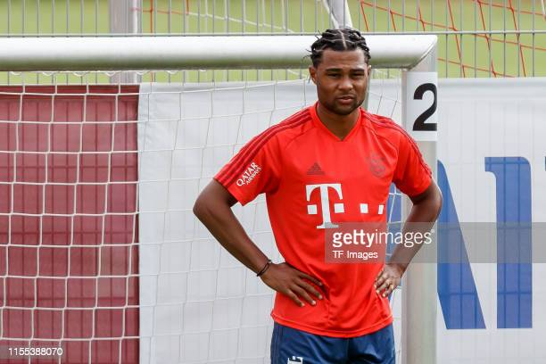 Serge Gnabry of FC Bayern Muenchen looks on during a training session on July 12, 2019 in Munich, Germany.
