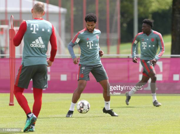 Serge Gnabry of FC Bayern Muenchen practices during a training session at the club's Saebener Strasse training ground on May 14 2019 in Munich Germany
