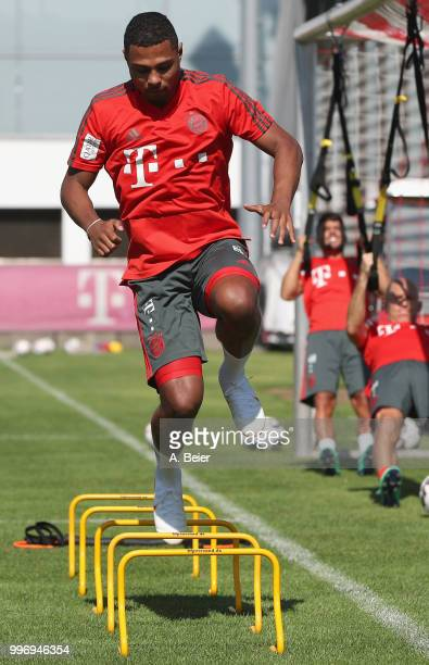 Serge Gnabry of FC Bayern Muenchen practices during a training session at the club's Saebener Strasse training ground on July 12 2018 in Munich...