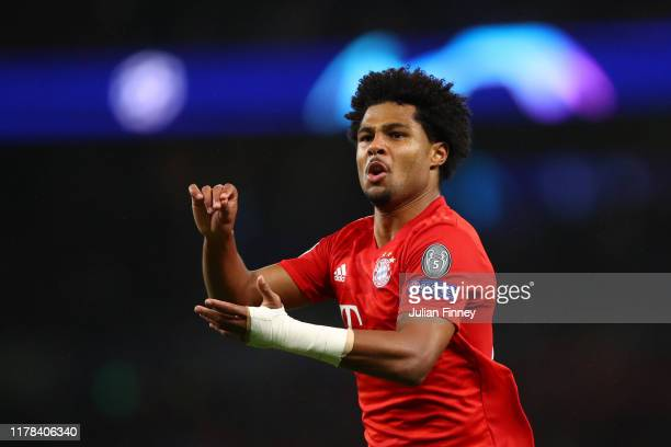 Serge Gnabry of FC Bayern Munich celebrates after scoring his team's third goal during the UEFA Champions League group B match between Tottenham...
