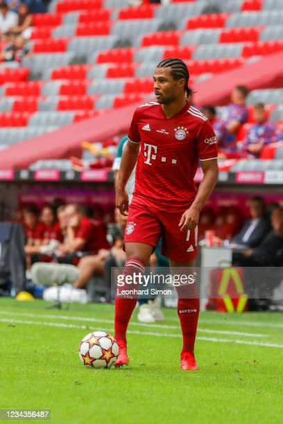 Serge Gnabry of FC Bayern Munich in action during the pre-season match between FC Bayern Munich and SSC Napoli at Allianz Arena on July 31, 2021 in...
