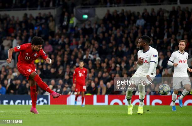 Serge Gnabry of FC Bayern Munich scores his team's seventh goal during the UEFA Champions League group B match between Tottenham Hotspur and Bayern...