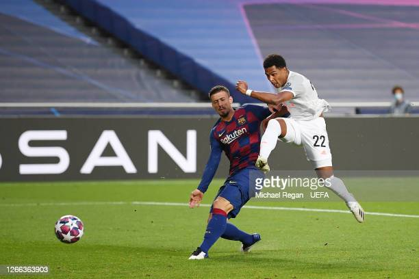 Serge Gnabry of FC Bayern Munich scores his team's third goal during the UEFA Champions League Quarter Final match between Barcelona and Bayern...
