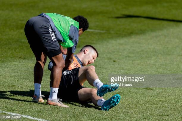 Serge Gnabry of Germany and Niklas Suele of Germany look on during Day 3 of the Germany Seefeld Training Camp on May 30, 2021 in Seefeld in Tirol,...