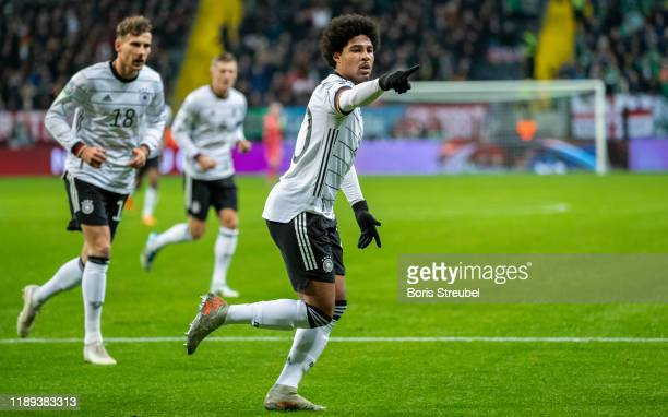 Serge Gnabry of Germany celebrates a goal during the UEFA Euro 2020 Qualifier between Germany and Northern Ireland at Commerzbank Arena on November...