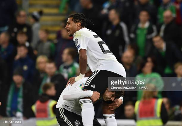 Serge Gnabry of Germany celebrates after scoring during the UEFA Euro 2020 qualifier match between Northern Ireland and Germany at Windsor Park on...