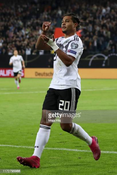 Serge Gnabry of Germany celebrates after scoring his team's first goal during the UEFA Euro 2020 qualifier match between Germany and Netherlands at...