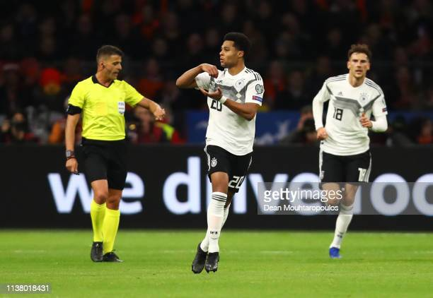 Serge Gnabry of Germany celebrates after scoring his team's second goal during the 2020 UEFA European Championships Group C qualifying match between...