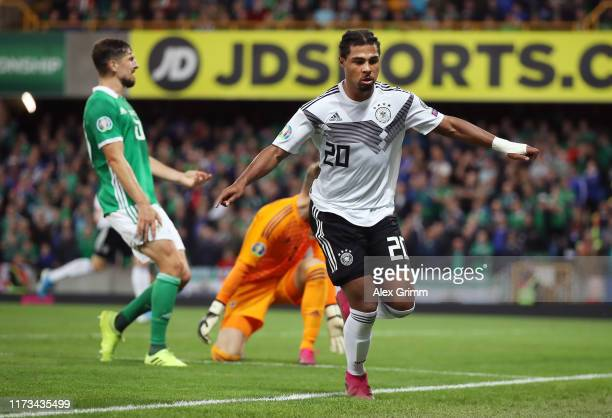 Serge Gnabry of Germany celebrates after scoring his team's second goal during the UEFA Euro 2020 qualifier match between Northern Ireland and...