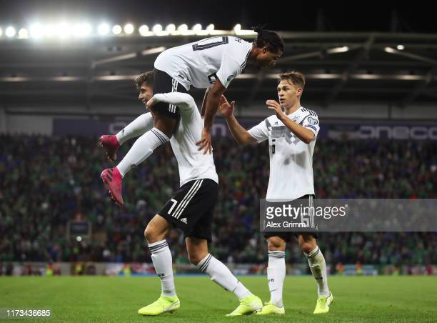 Serge Gnabry of Germany celebrates after scoring his team's second goal with Kai Havertz and Joshua Kimmich of Germany during the UEFA Euro 2020...