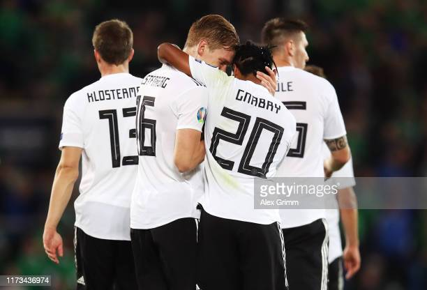 Serge Gnabry of Germany celebrates after scoring his team's second goal with Marcel Halstenberg of Germany during the UEFA Euro 2020 qualifier match...
