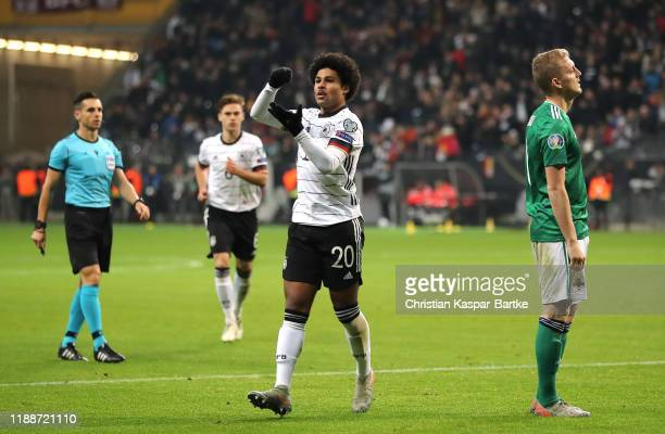 Serge Gnabry of Germany celebrates after scoring his team's third goal during the UEFA Euro 2020 Qualifier between Germany and Northern Ireland at...