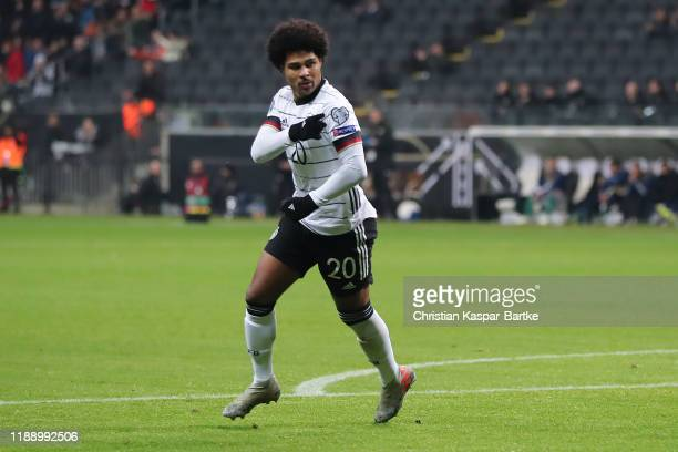 Serge Gnabry of Germany celebrates after scoring his team`s third goal during the UEFA Euro 2020 Qualifier between Germany and Northern Ireland at...