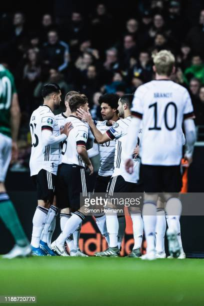 Serge Gnabry of Germany celebrates his team's first goal with his team mates during the UEFA Euro 2020 Qualifier between Germany and Northern Ireland...