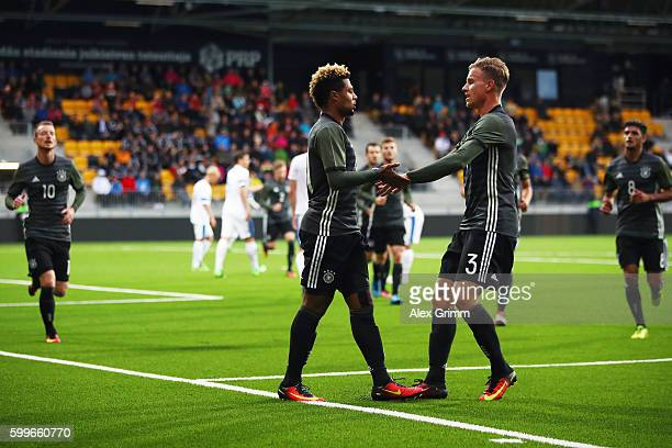 Serge Gnabry of Germany celebrates his team's first goal with team mate Yannick Gerhardt during the 2017 UEFA European U21 Championships Qualifier...