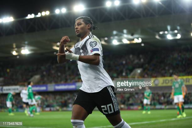 Serge Gnabry of Germany celebrates his team's second goal during the UEFA Euro 2020 qualifier match between Northern Ireland and Germany at Windsor...