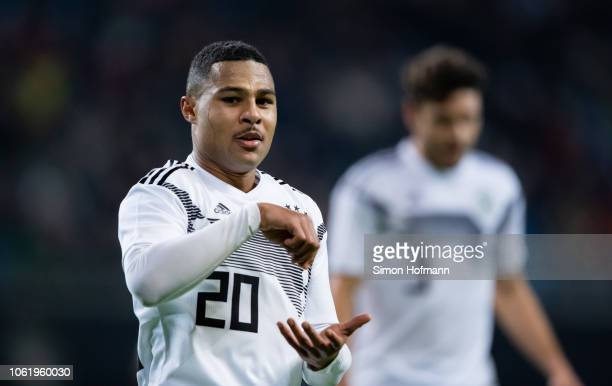 Serge Gnabry of Germany celebrates his team's third goal during the International Friendly match between Germany and Russia at Red Bull Arena on...