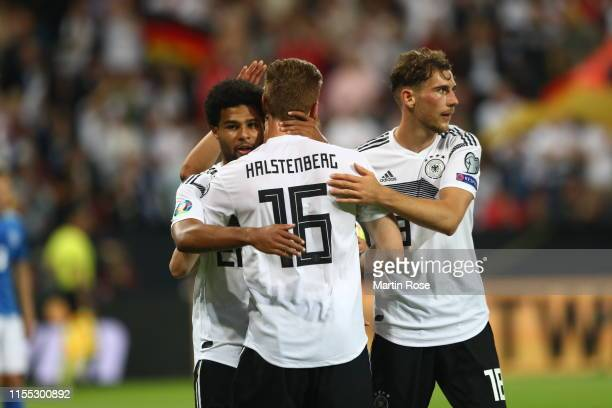 Serge Gnabry of Germany celebrates scoring the 6th goal during the UEFA Euro 2020 Qualifier match between Germany and Estonia at Opel Arena on June...