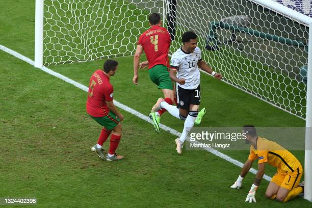 Serge Gnabry of Germany celebrates their side's second goal, an own goal by Raphael Guerreiro of Portugal during the UEFA Euro 2020 Championship...