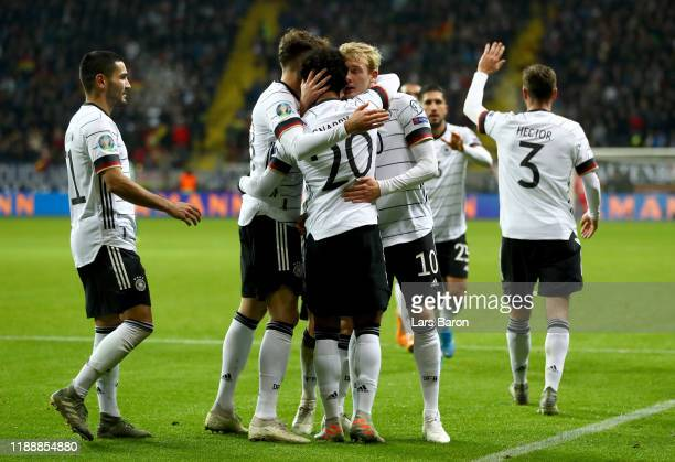 Serge Gnabry of Germany celebrates with team mates during the UEFA Euro 2020 Qualifier between Germany and Northern Ireland at Commerzbank Arena on...
