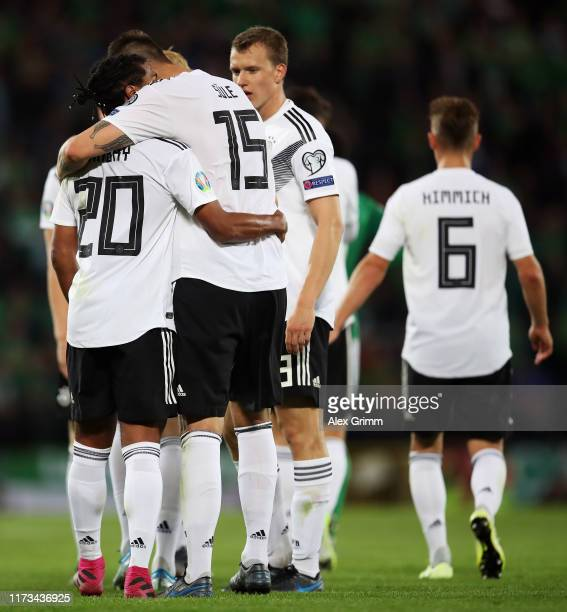 Serge Gnabry of Germany celebrates with teammates after scoring his team's second goal during the UEFA Euro 2020 qualifier match between Northern...