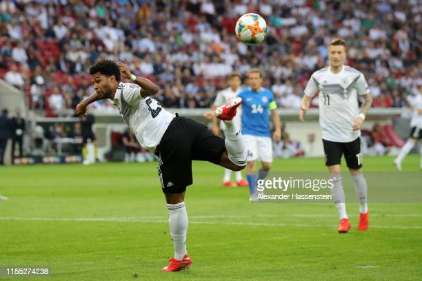 Serge Gnabry of Germany controls the ball during the UEFA Euro 2020 Qualifier match between Germany and Estonia at Opel Arena on June 11, 2019 in...