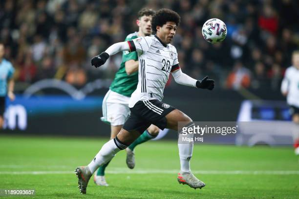 Serge Gnabry of Germany controls the ball during the UEFA Euro 2020 Qualifier between Germany and Northern Ireland at Commerzbank Arena on November...