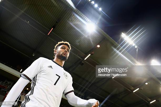 Serge Gnabry of Germany enters the field for the 2017 UEFA European U21 Championships Qualifier between Germany and Russia at Audi Sportpark on...