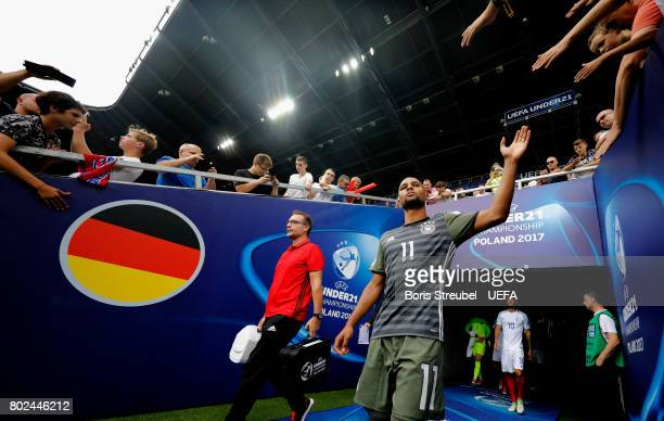 Serge Gnabry of Germany enters the pitch for the second half during the UEFA European Under21 Championship Semi Final match between England and...