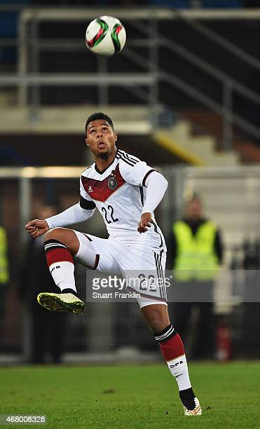 Serge Gnabry of Germany in action during a U21 International friendly match between U21 Germany and U21 Italy on March 27 2015 in Paderborn Germany