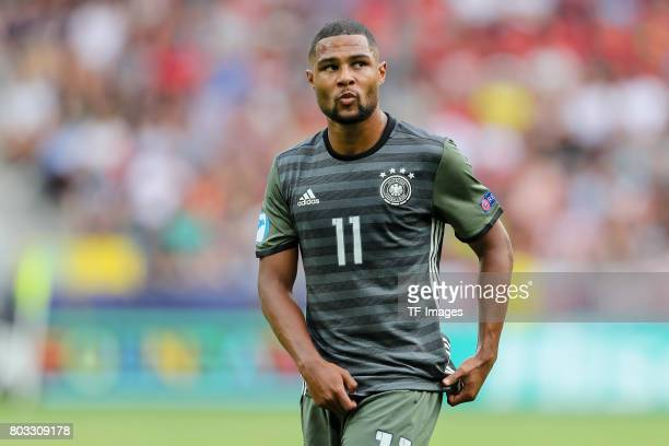 Serge Gnabry of Germany looks on during the UEFA European Under21 Championship Semi Final match between England and Germany at Tychy Stadium on June...