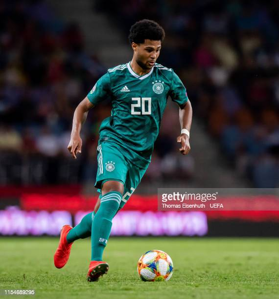 Serge Gnabry of Germany plays the ball during the UEFA Euro 2020 qualifier match between Belarus and Germany at BorisovArena on June 08 2019 in...