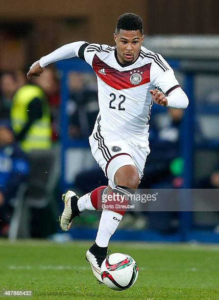 Serge Gnabry of Germany runs with the ball during the U21 International friendly match between U21 Germany and U21 Italy on March 27 2015 in...
