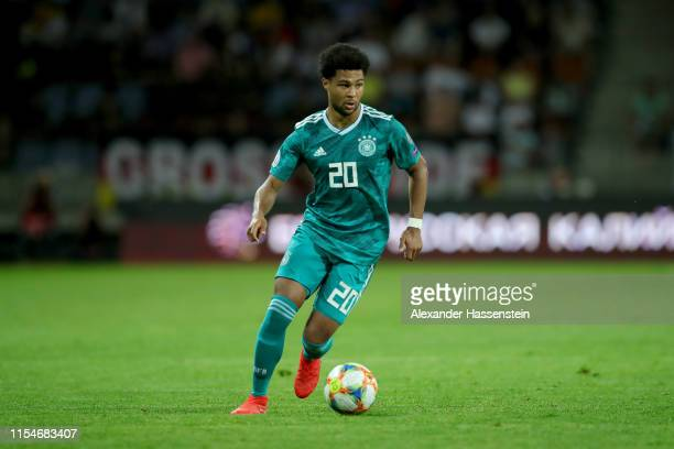 Serge Gnabry of Germany runs with the ball during the UEFA Euro 2020 qualifier match between Belarus and Germany at BorisovArena on June 08 2019 in...